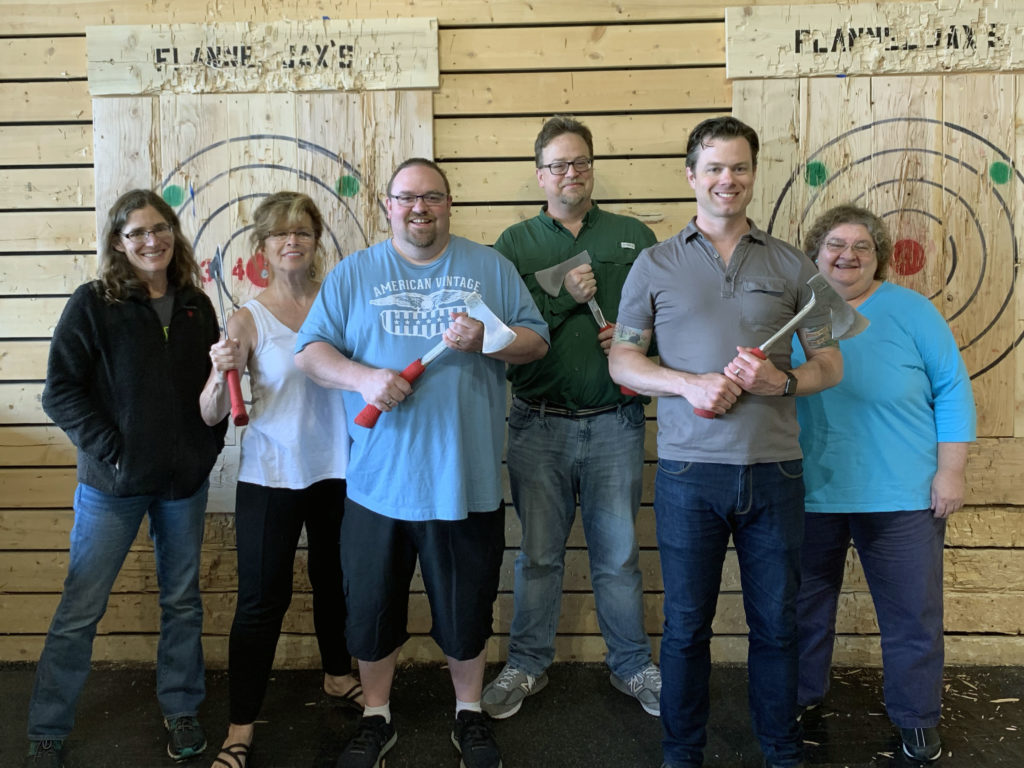 Some of the MAX Center staff indulged in some axe-throwing at the end-of-semester retreat.