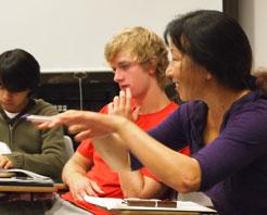 Professor Wang in class
