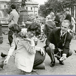 playing with pigeons in London, 1964