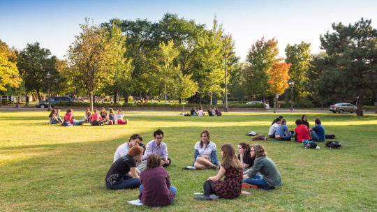 Students meeting outside on campus in autumn.