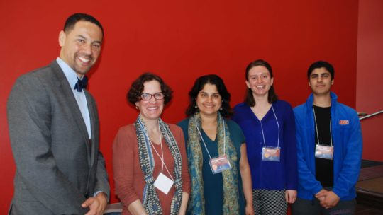 images of Minnesota Campus Compact and Campus Compact award winners (from left to right): Linwood Monroe Arts Plus Principal Dr. Bryan Bass, Professor Christie Manning, Professor Roopali Phadke, Maya Swope '18, and Avik Herur-Raman '20.