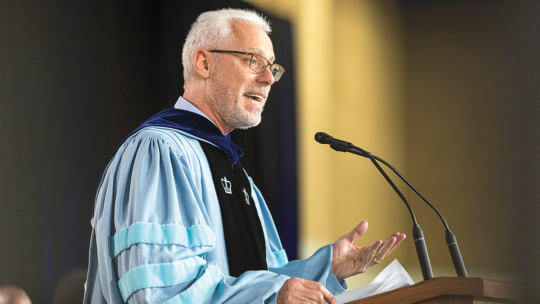 Photo of Macalester President Brian Rosenberg speaking at Commencement