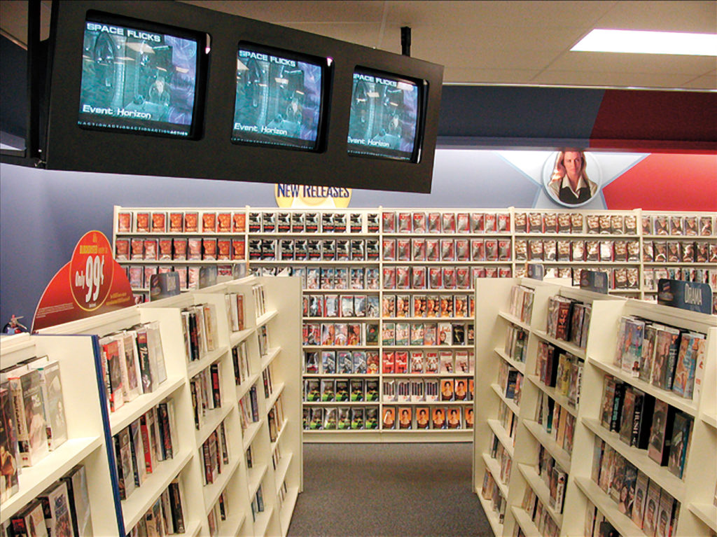 Photo of the interior of the Blockbuster store on Grand Ave.