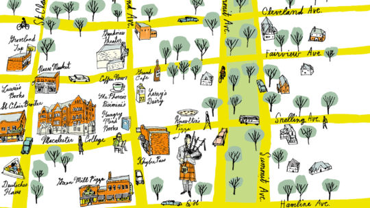 Illustrated map of the neighborhood around Macalester.