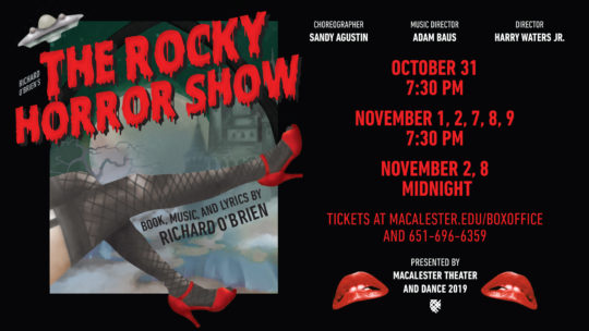 Poster for the Macalester production of The Rocky Horror Show