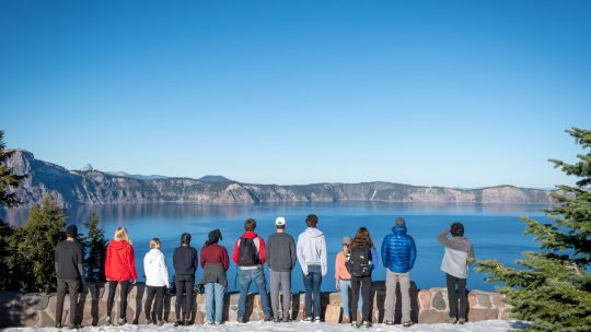 Students look out at Crater Lake