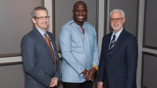 Photo of Andrew Beveridge, Kofi Amoo-Gottfried, and Brian Rosenberg.
