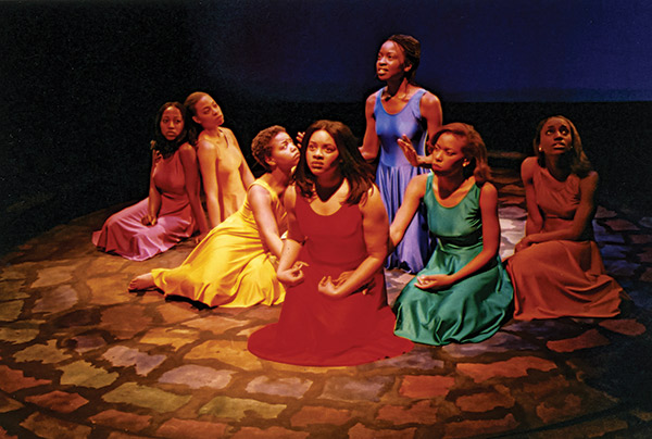 """for colored girls who have considered suicide / when the rainbow is enuf,"" featuring (left to right) Tafadzwa Pasipanodya '01, Nisreen Dawan '04, Jimica Dawkins Howard '03, LaNeisha Stanford Murphy '01, Danai Gurira '01, Marissa Lightbourne-Kleinow '02, and Cerissa Chaney '01 (2001)."