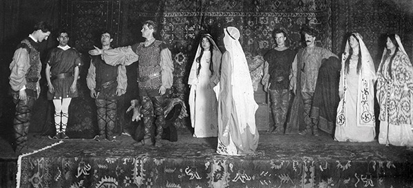 """Macbeth,"" the oldest existing photo of a Macalester theater production (1908)"