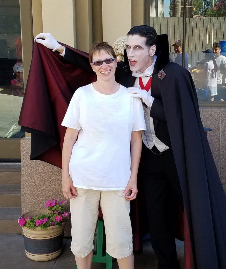 Professor Abel with a vampire.