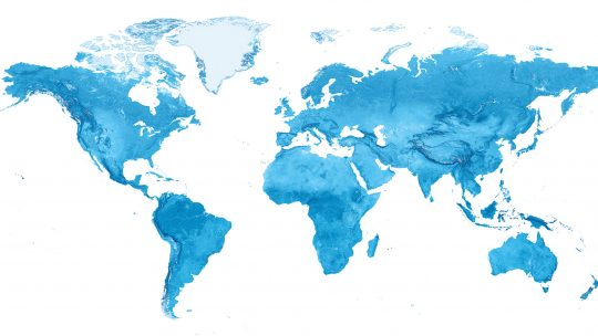 Blue graphic of a world map