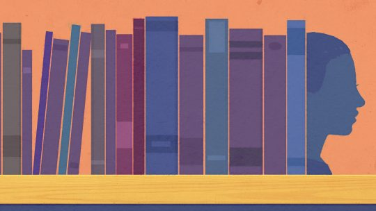 Illustration of books on a shelf with a face as a bookend