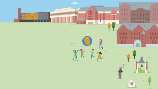 Drawing of students playing pushball on the Macalester campus