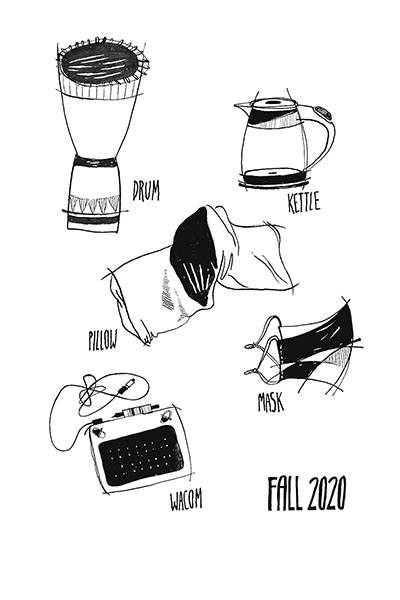 Black and white drawings of a drum, kettle, pillow, mask, and Walcom labeled FALL 2020
