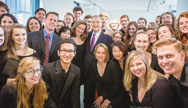 Walter Mondale with Mac students