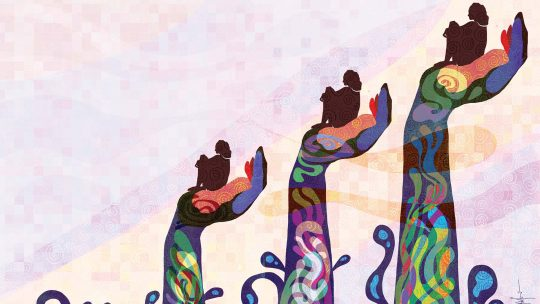Illustration of hands lifting people up