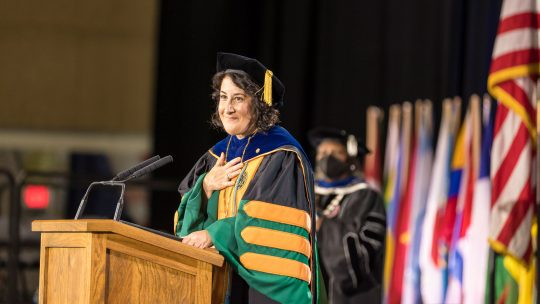 Photo of President Suzanne M. Rivera speaking at her Inauguration.