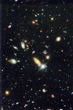 NASA image of the Hubble Deep Field, imaged in f450, f606, and f814. Copyright NASA