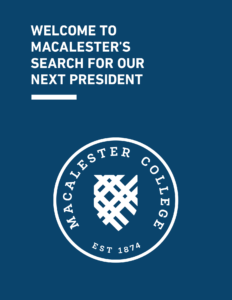 Cover of the Macalester Leadership Profile document.