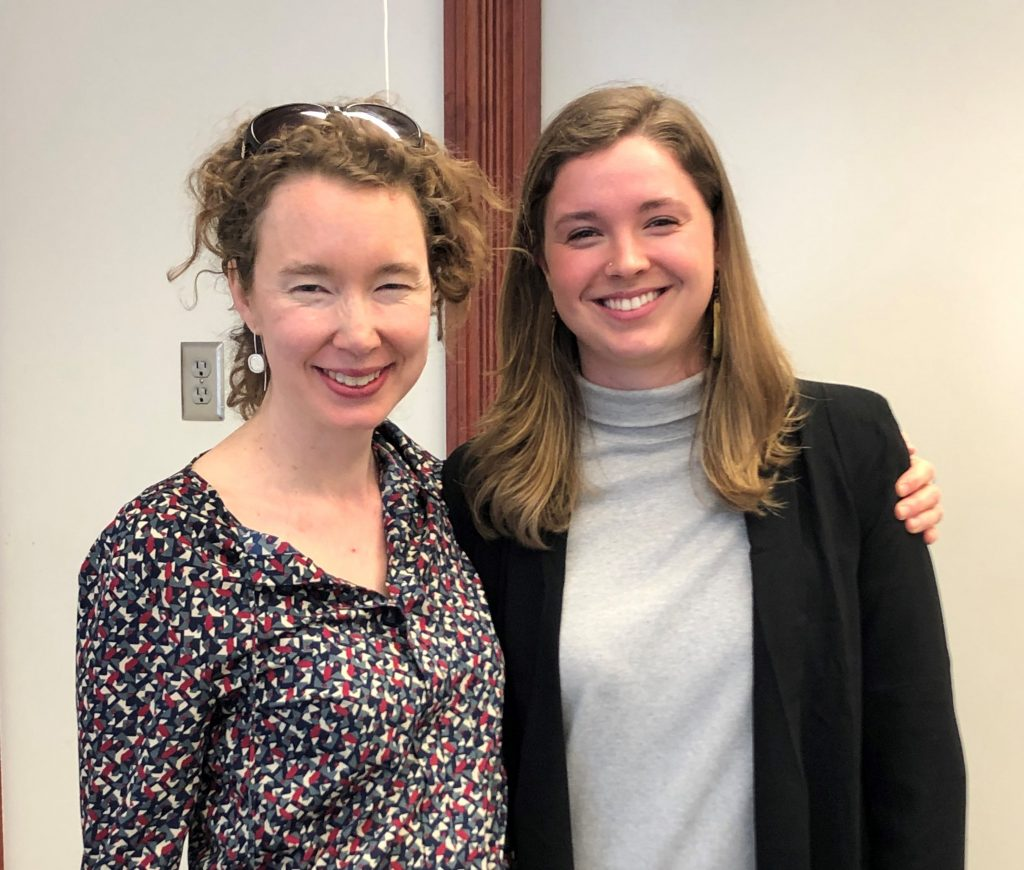 Professor Susanna Drake and Maude Quinn '19 following her successful Honors Defense