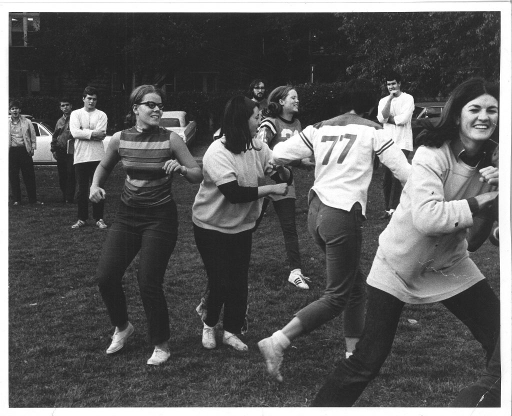 Practice: October, 1969 <br>Help identify the coaches and team members other than Linda Swanson Svidal, Mike Mikulich, Maggie Folendorf Penn<br>Submitted by: Jane McKinley Sweet
