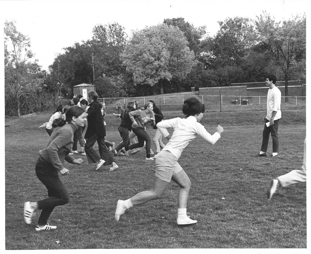 Practice Too: October 1969 <br>Help identify the coaches and team members other than Jane McKinley Sweet and Nancy Johnson Loper.<br> Submitted by: Jane McKinley Sweet