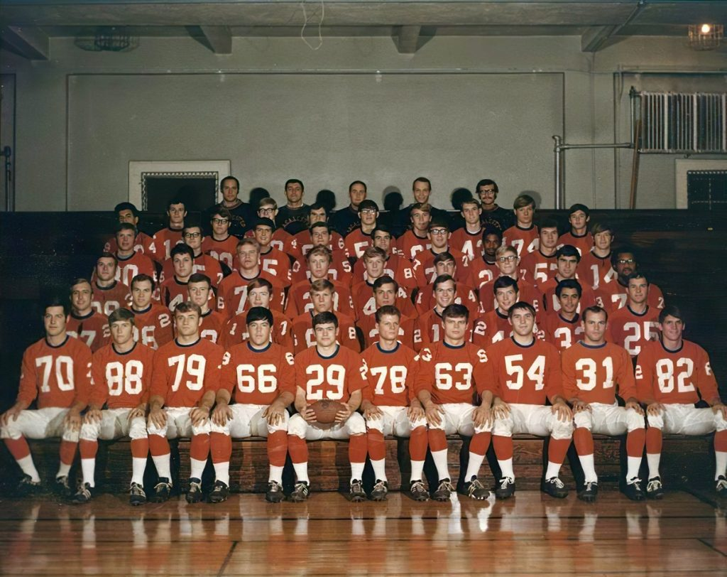 Mac Football Team, 1969. <br>Help identify the team members and coaches.