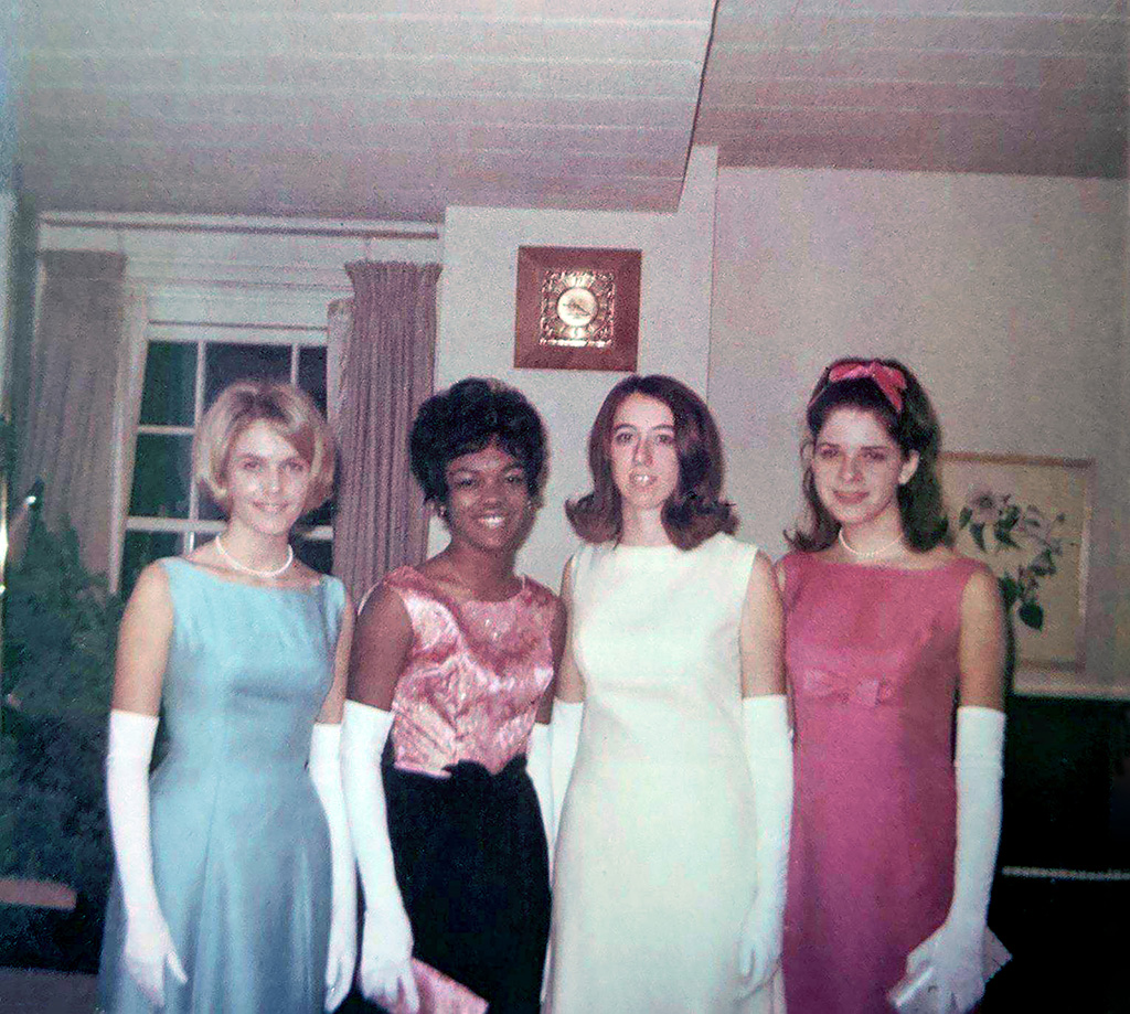 Liz Kiesow Aase, Candy Brown (transferred after freshman year), Julie Schlueter, Mary Lou Stein Pope.<br> Submitted by: Julie Schlueter
