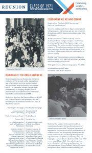 Class of 1971 50th Reunion - September Newsletter