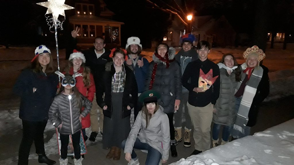 Students and community members dressed up for kolyadki, which is when people go door to door in costumes to perform and get treats during the Christmas and New Year holiday season