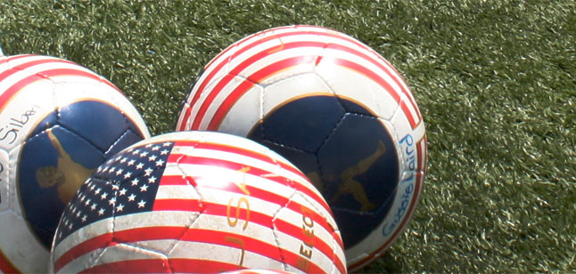 Soccer balls with U.S. flag