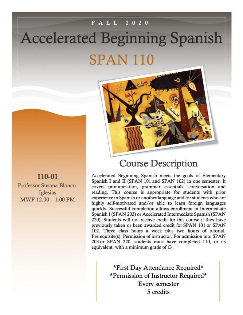 Flyer for SPAN 110