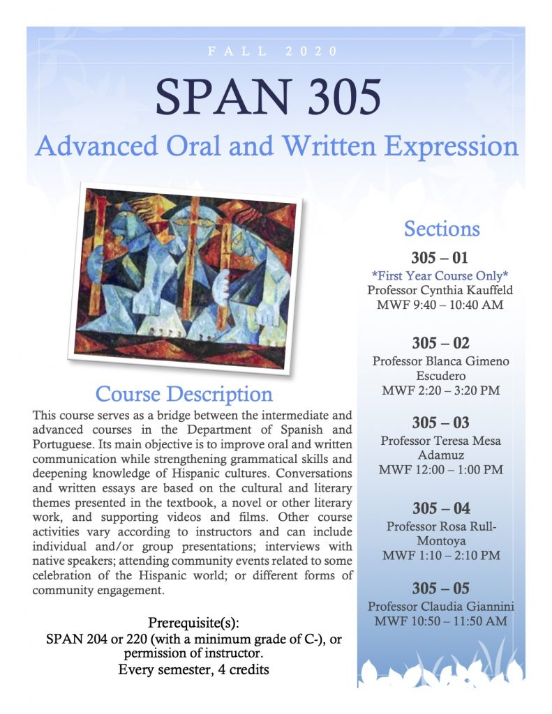 Flyer for SPAN 305