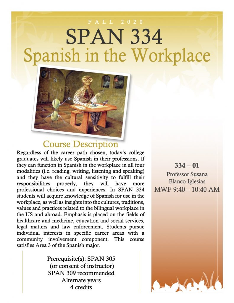 Flyer for SPAN 334