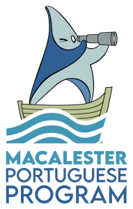 Graphic of a shark with the text Macalester Portuguese Program