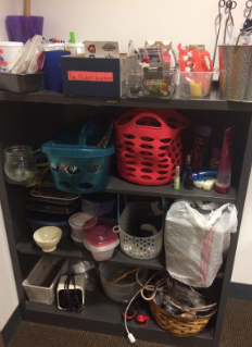 Toiletries, pins, pencils, Tupperware and more.