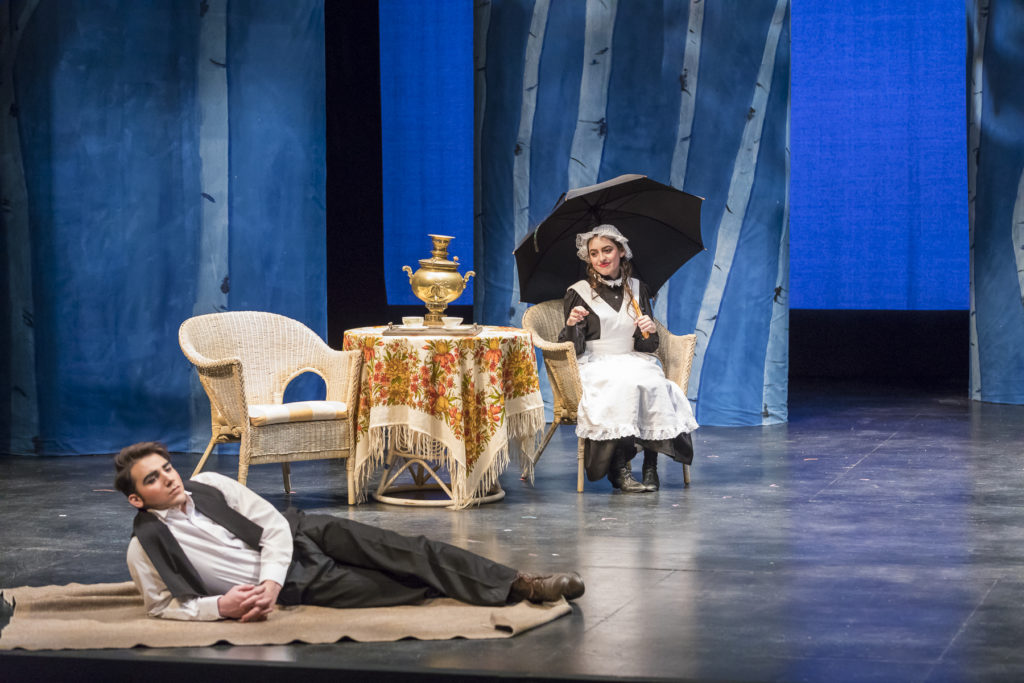 Lucia Marston '21 and Zeka Dizdar '21 in The Cherry Orchard, Fall 2017