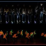 Two merged photos of dancers performing on stage, one is dark and one is lit by yellow light