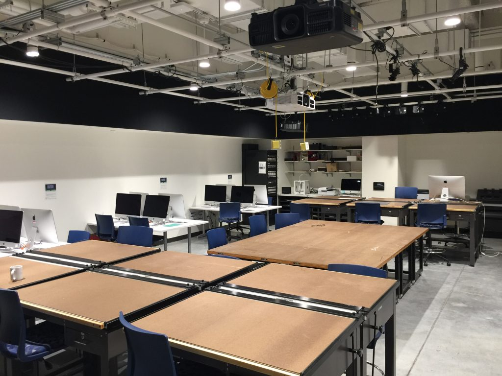 Image of the basement design studio in the newly built Theater and Dance building.