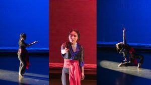 Three photos depicting a dancer performing on stage