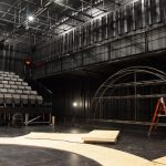 View of the Rocky Horror set being built on stage