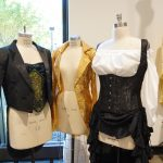 Three costumes for Rocky Horror on manequins