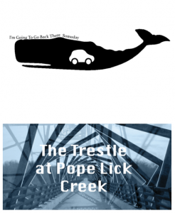 Clipart image of a car in the belly of a whale next to an image of a bridge with the show title