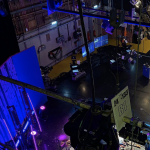 Overhead view of the stage and lighting