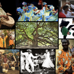 Collage of several photos of dancers performing in different locations