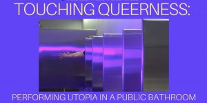 Touching Queerness publicity poster depicting the purple-hued stalls of a public bathroom