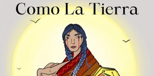 Como la Tierra publicity poster depicting a woman sitting and crying blood