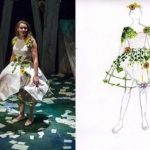 Side by side image of a costume drawing and costume being worn by an actor