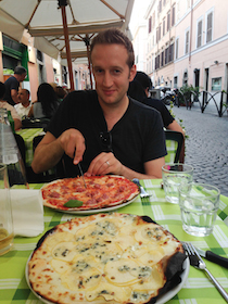 Peter Bognanni Eating Pizza in Rome