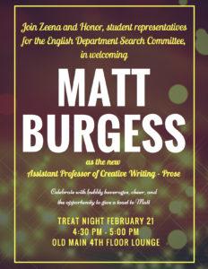 Matt Burgess celebration poster